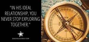 closeup of a compass on a map with a quote about exploring with a gemini man