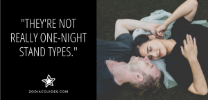 man and woman lying on the grass with their heads touching and a quote about cancer men not liking one night stands