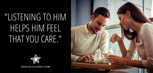 man and woman sitting at a cafe table smiling with a quote about attracting cancer men by listening to them