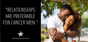 man hugging a woman under a tree with a quote about cancer men in relationships