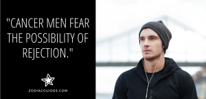 man in a hat with ear buds in with a quote about cancer men fearing rejection