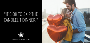 man kissing a woman holding red heart shaped balloons with a quote about going on an adventurous date with a gemini man