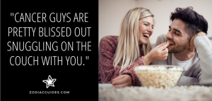 woman feeding a man popcorn with a quote about watching netflix with your cancer man