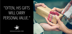 hands of a man and woman holding a gift with a quote about cancer men giving personal gifts