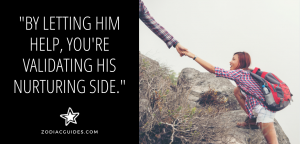 mans hand helping a woman climb up a rock with a quote about letting a Cancer man help
