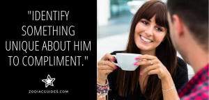 woman drinking coffee smiling at a man with a quote about complimenting a Cancer man