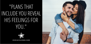 woman hugging a man from behind with a quote about a cancer man making plans with a woman he loves