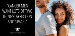 woman smiling and hugging a man from behind with a quote about cancer men liking affection and space