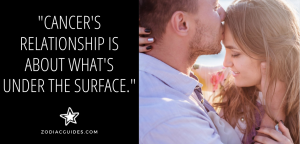 man kissing a woman's forehead with a quote about cancer man relationship