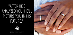 closeup of two hands with wedding rings on them and a quote about getting a cancer man to propose
