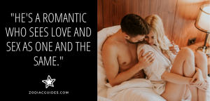 couple cuddling in bed with a quote about cancer men in love