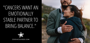couple hugging with a quote about cancer men wanting balance in a relationship